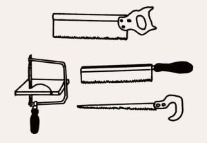 Varios tipos de serruchos y sierra de calar