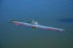 El submarino navegando