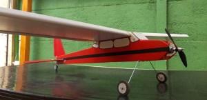 Este avión tiene un motor Park 450 tiene una envergadura de 1.4 mts y pesa aprox 850 gramos, sin batería.