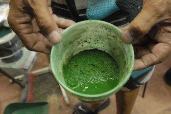 Preparando aserrín coloreado para simular vegetación