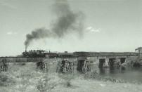 Tren cruzando un puente sobre el rio Cauto