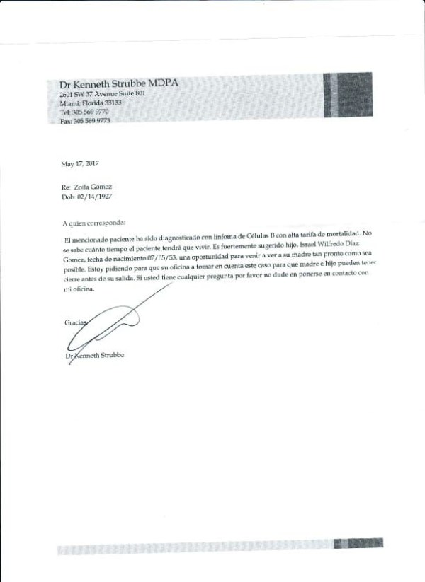 Carta del médico de mi madre 17 mayo 2017